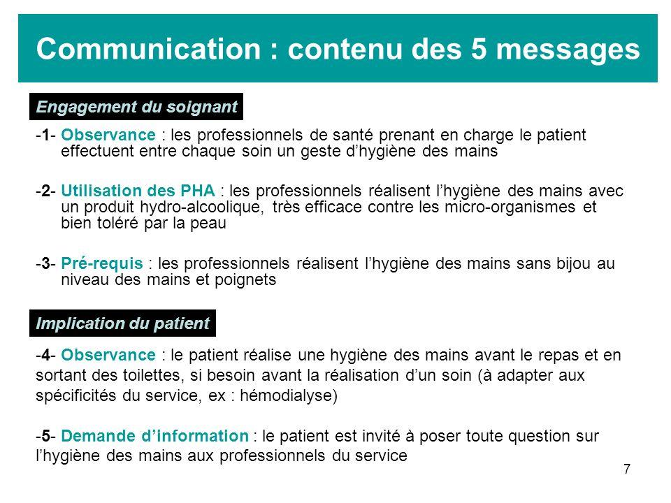 7 Communication : contenu des 5 messages -1- Observance : les professionnels de santé prenant en charge le patient effectuent entre chaque soin un ges