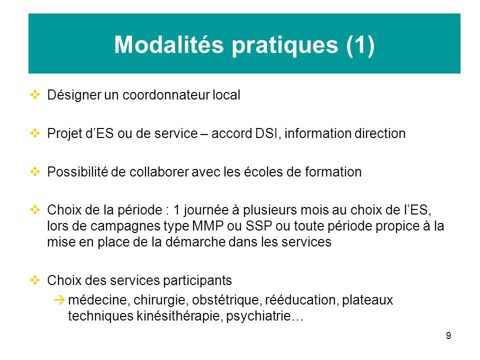 9 Modalités pratiques (1) Désigner un coordonnateur local Projet dES ou de service – accord DSI, information direction Possibilité de collaborer avec