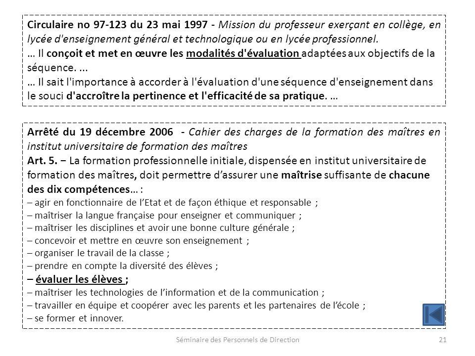 Séminaire des Personnels de Direction21 Arrêté du 19 décembre 2006 - Cahier des charges de la formation des maîtres en institut universitaire de formation des maîtres Art.