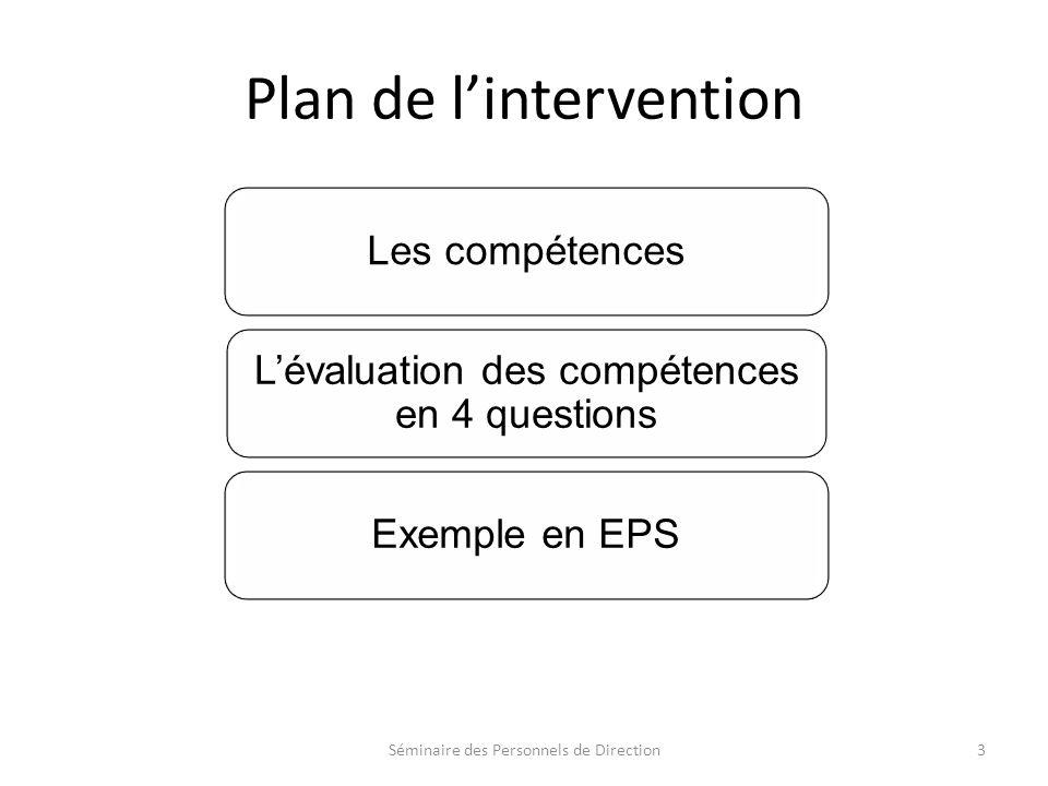 Plan de lintervention Séminaire des Personnels de Direction3 Les compétences Lévaluation des compétences en 4 questions Exemple en EPS