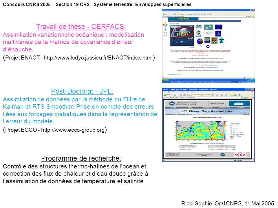 Concours CNRS 2005 – Section 19 CR2 - Système terrestre: Enveloppes superficielles Ricci Sophie, Oral CNRS, 11 Mai 2005 Post-Doctorat - JPL: Assimilat