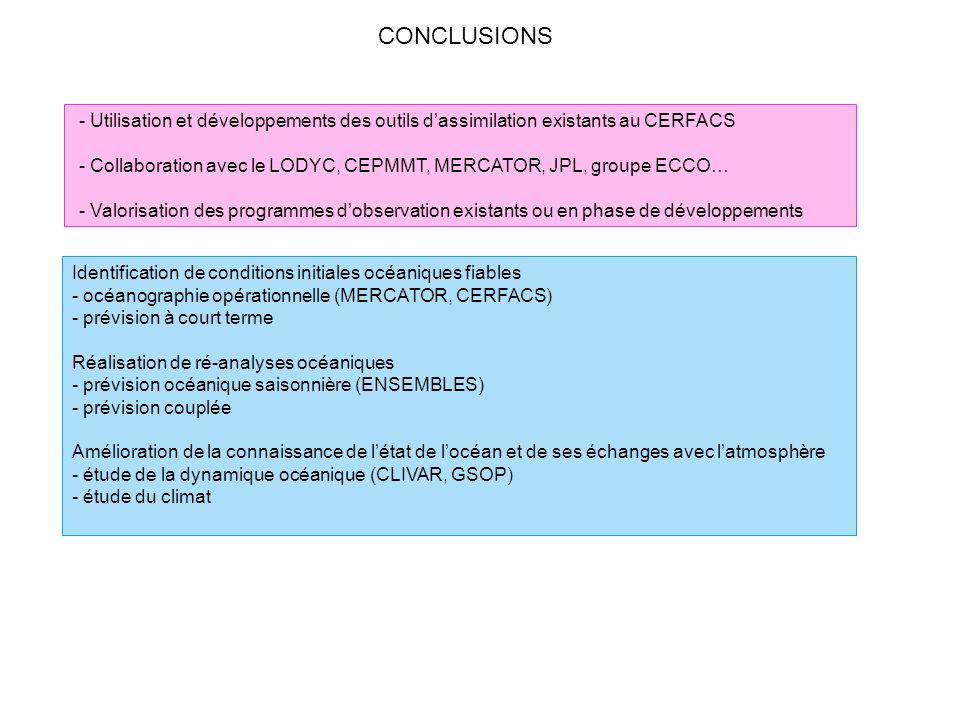 CONCLUSIONS Identification de conditions initiales océaniques fiables - océanographie opérationnelle (MERCATOR, CERFACS) - prévision à court terme Réa