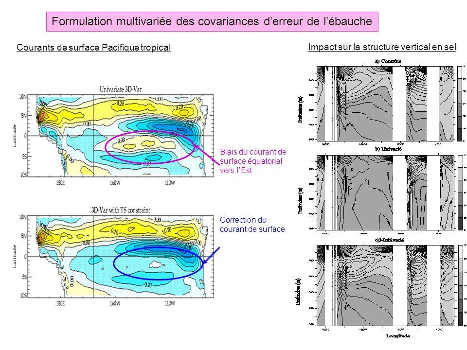 Formulation multivariée des covariances derreur de lébauche Impact sur la structure vertical en sel Biais du courant de surface équatorial vers lEst C