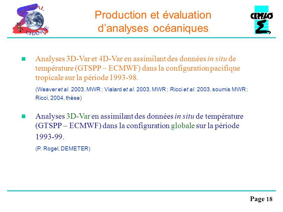 Page 18 Production et évaluation danalyses océaniques Analyses 3D-Var et 4D-Var en assimilant des données in situ de température (GTSPP – ECMWF) dans