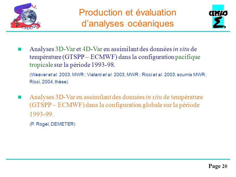Page 20 Production et évaluation danalyses océaniques Analyses 3D-Var et 4D-Var en assimilant des données in situ de température (GTSPP – ECMWF) dans