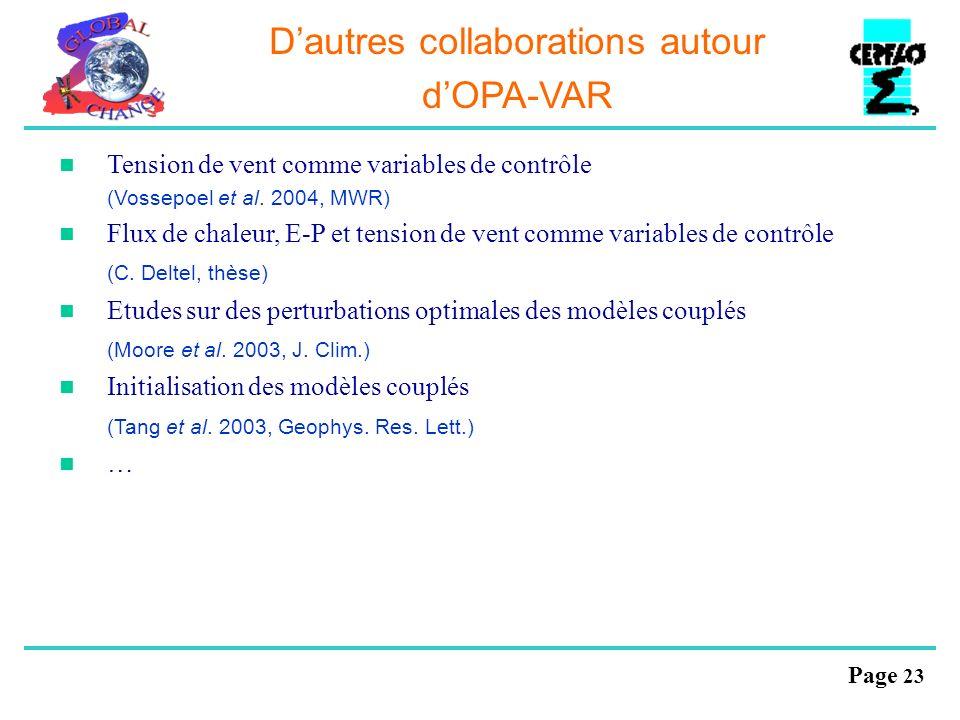 Page 23 Dautres collaborations autour dOPA-VAR Tension de vent comme variables de contrôle (Vossepoel et al. 2004, MWR) Flux de chaleur, E-P et tensio