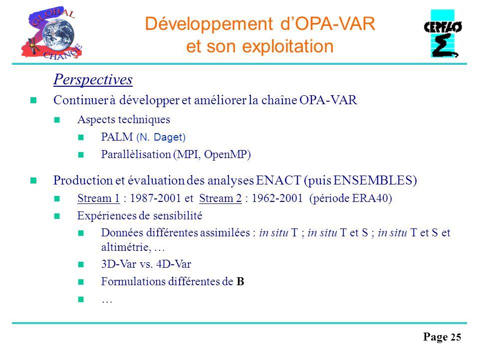 Page 25 Développement dOPA-VAR et son exploitation Perspectives Continuer à développer et améliorer la chaîne OPA-VAR Aspects techniques PALM (N. Dage