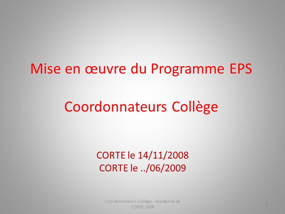 Mise en œuvre du Programme EPS Coordonnateurs Collège CORTE le 14/11/2008 CORTE le../06/2009 1 Coordonnateurs Collège - Académie de CORSE 2008