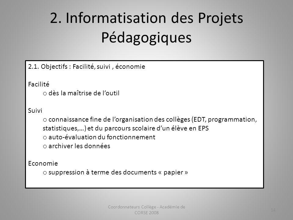 2. Informatisation des Projets Pédagogiques Coordonnateurs Collège - Académie de CORSE 2008 14 2.1. Objectifs : Facilité, suivi, économie Facilité o d