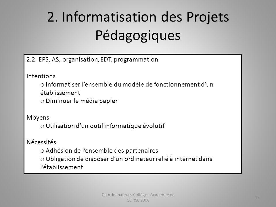 2. Informatisation des Projets Pédagogiques Coordonnateurs Collège - Académie de CORSE 2008 15 2.2. EPS, AS, organisation, EDT, programmation Intentio