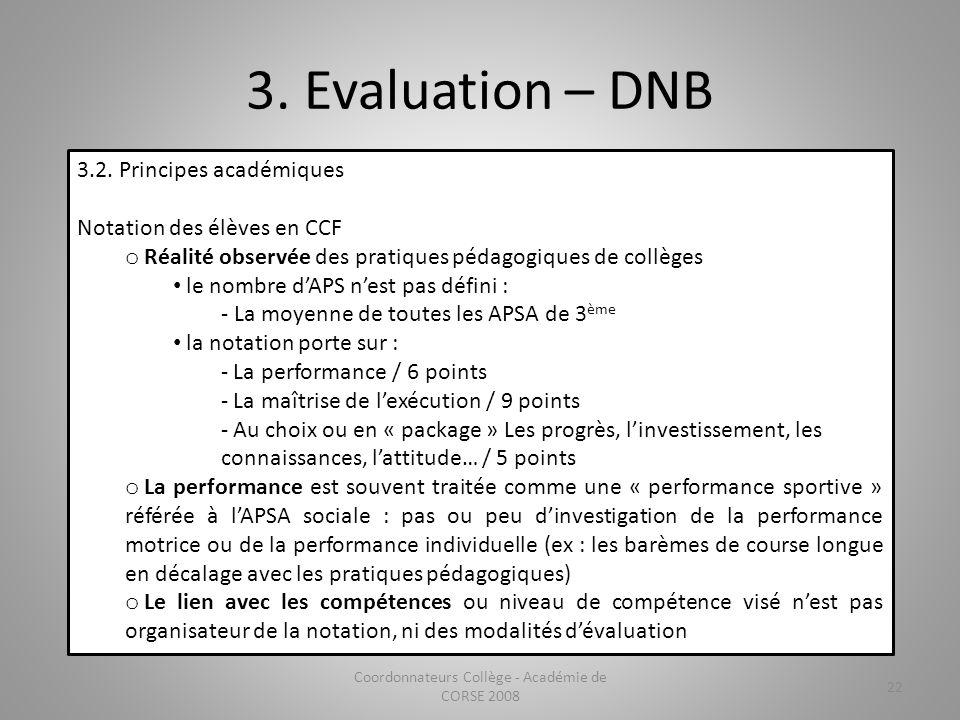 3. Evaluation – DNB Coordonnateurs Collège - Académie de CORSE 2008 22 3.2. Principes académiques Notation des élèves en CCF o Réalité observée des pr