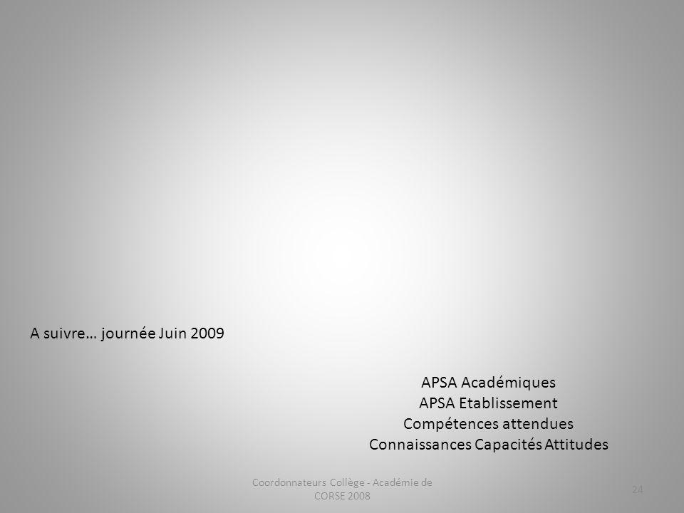 Coordonnateurs Collège - Académie de CORSE 2008 24 APSA Académiques APSA Etablissement Compétences attendues Connaissances Capacités Attitudes A suivr