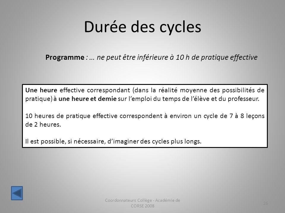Durée des cycles Coordonnateurs Collège - Académie de CORSE 2008 26 Programme : … ne peut être inférieure à 10 h de pratique effective Une heure effec