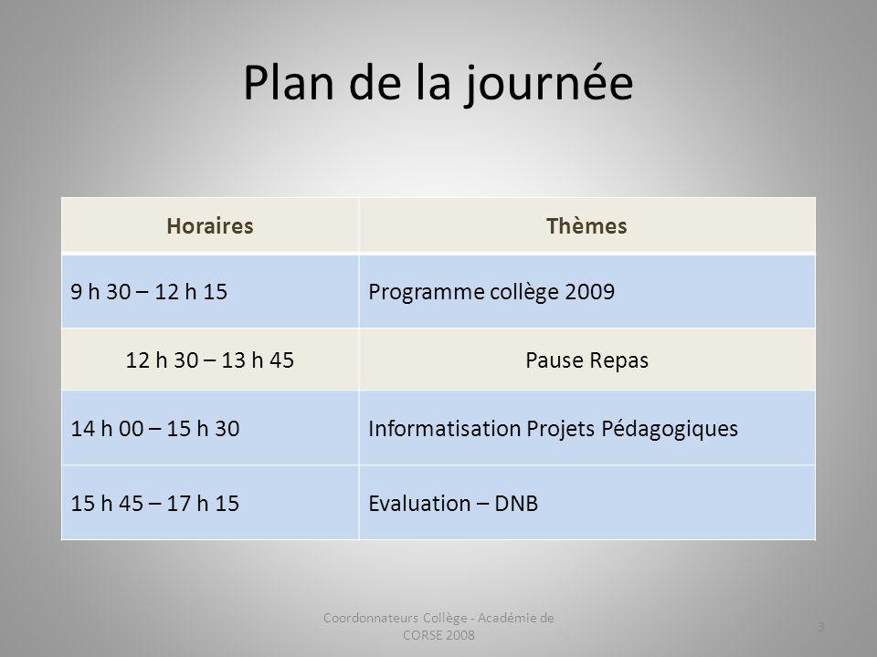 Plan de la journée HorairesThèmes 9 h 30 – 12 h 15Programme collège 2009 12 h 30 – 13 h 45Pause Repas 14 h 00 – 15 h 30Informatisation Projets Pédagog