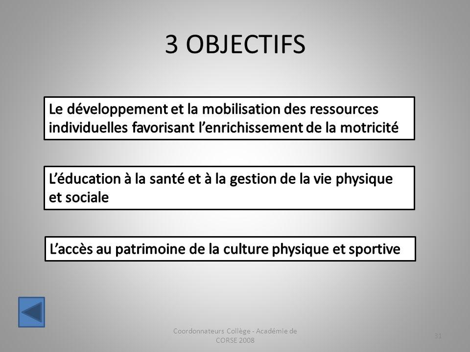 3 OBJECTIFS Coordonnateurs Collège - Académie de CORSE 2008 31
