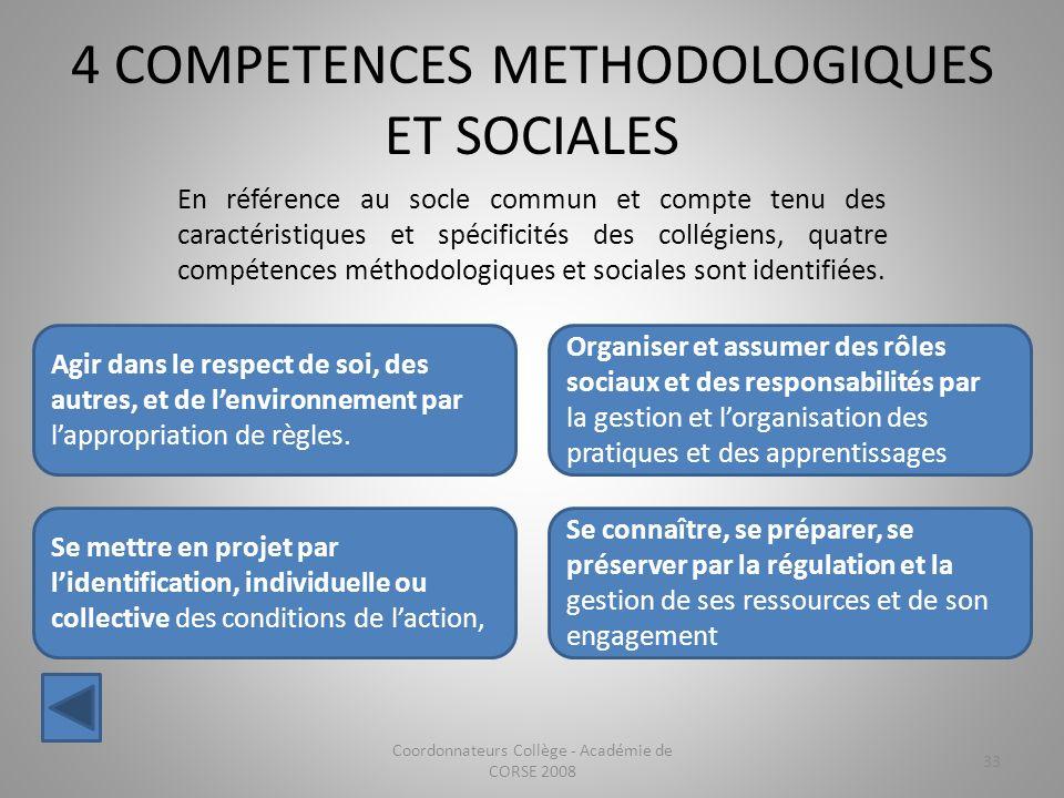 4 COMPETENCES METHODOLOGIQUES ET SOCIALES Coordonnateurs Collège - Académie de CORSE 2008 33 Agir dans le respect de soi, des autres, et de lenvironne