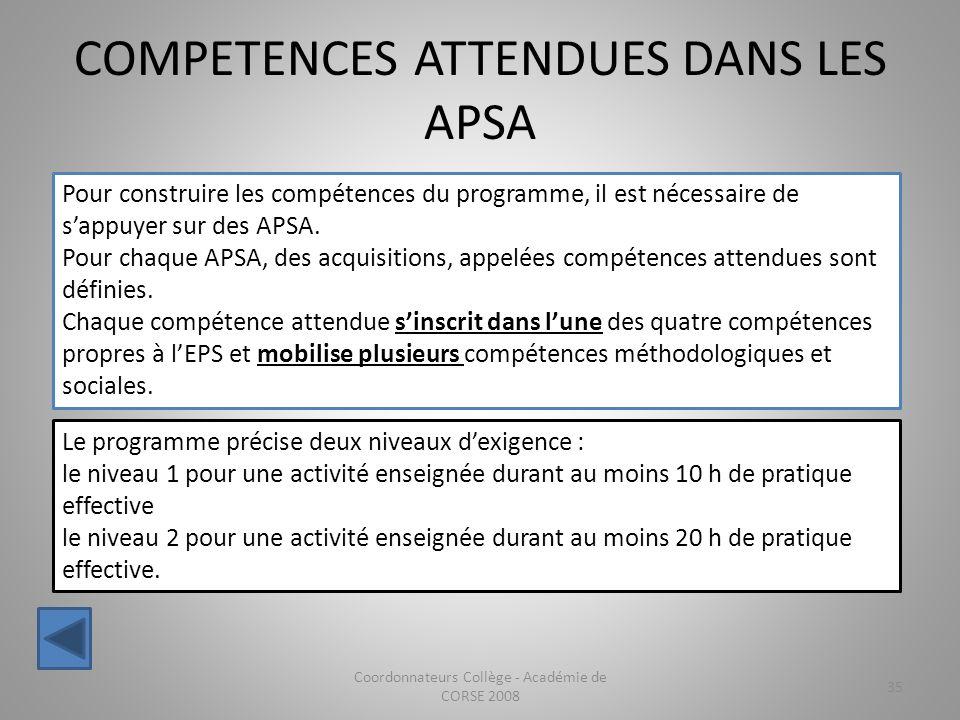 COMPETENCES ATTENDUES DANS LES APSA Coordonnateurs Collège - Académie de CORSE 2008 35 Pour construire les compétences du programme, il est nécessaire