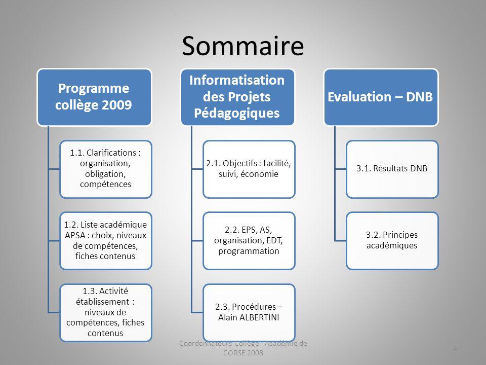 Sommaire Programme collège 2009 1.1. Clarifications : organisation, obligation, compétences 1.2. Liste académique APSA : choix, niveaux de compétences