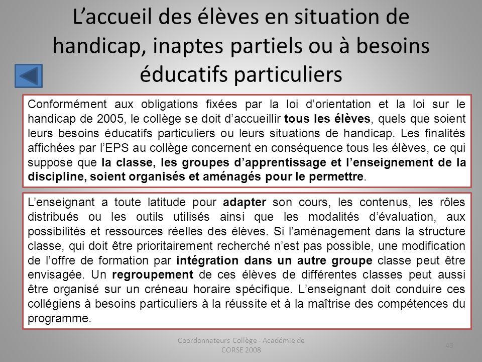 Laccueil des élèves en situation de handicap, inaptes partiels ou à besoins éducatifs particuliers Coordonnateurs Collège - Académie de CORSE 2008 43