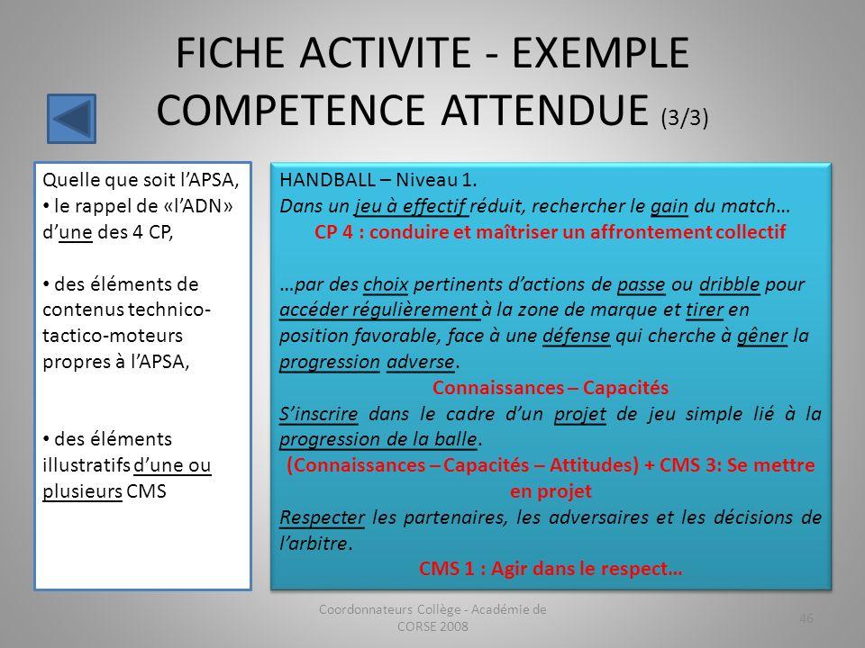 FICHE ACTIVITE - EXEMPLE COMPETENCE ATTENDUE (3/3) Coordonnateurs Collège - Académie de CORSE 2008 46 Quelle que soit lAPSA, le rappel de «lADN» dune