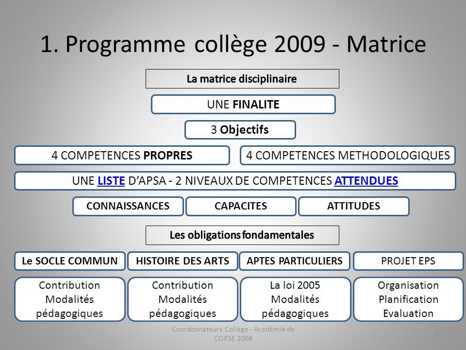 1. Programme collège 2009 - Matrice Coordonnateurs Collège - Académie de CORSE 2008 7 UNE FINALITE 3 Objectifs 4 COMPETENCES PROPRES4 COMPETENCES METH