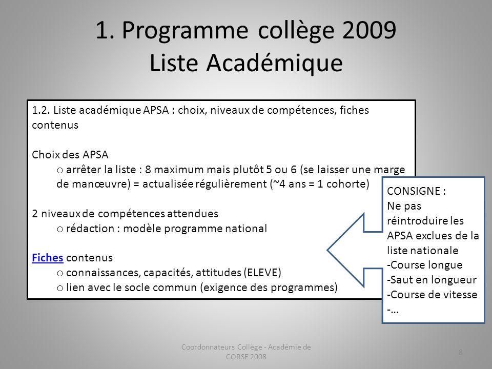 1. Programme collège 2009 Liste Académique 1.2. Liste académique APSA : choix, niveaux de compétences, fiches contenus Choix des APSA o arrêter la lis