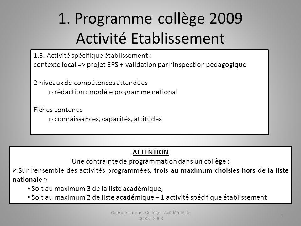 1. Programme collège 2009 Activité Etablissement 1.3. Activité spécifique établissement : contexte local => projet EPS + validation par linspection pé