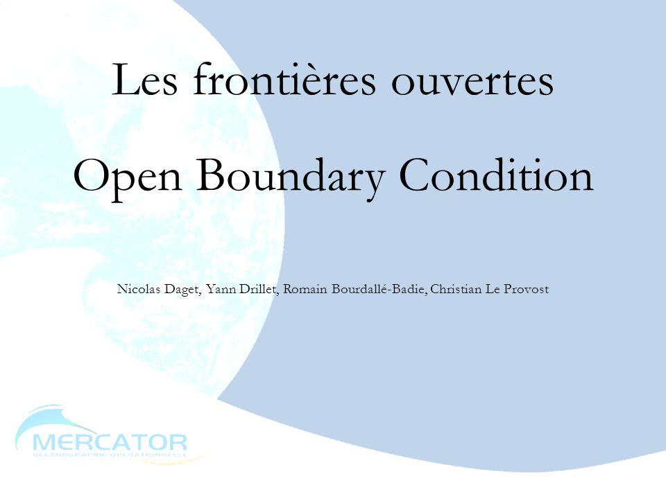 mai 20032 Théorie MNATL-OBC01 : les frontières ouvertes dans MNATL PAM-OBC01 et OBC02 : les frontières ouvertes dans PAM MNATL-OBC03 : les frontières variables dans MNATL PAM-OBC03 : les frontières variables dans PAM PAM-OBC04 : couplage avec POG Construction de frontières Conclusion