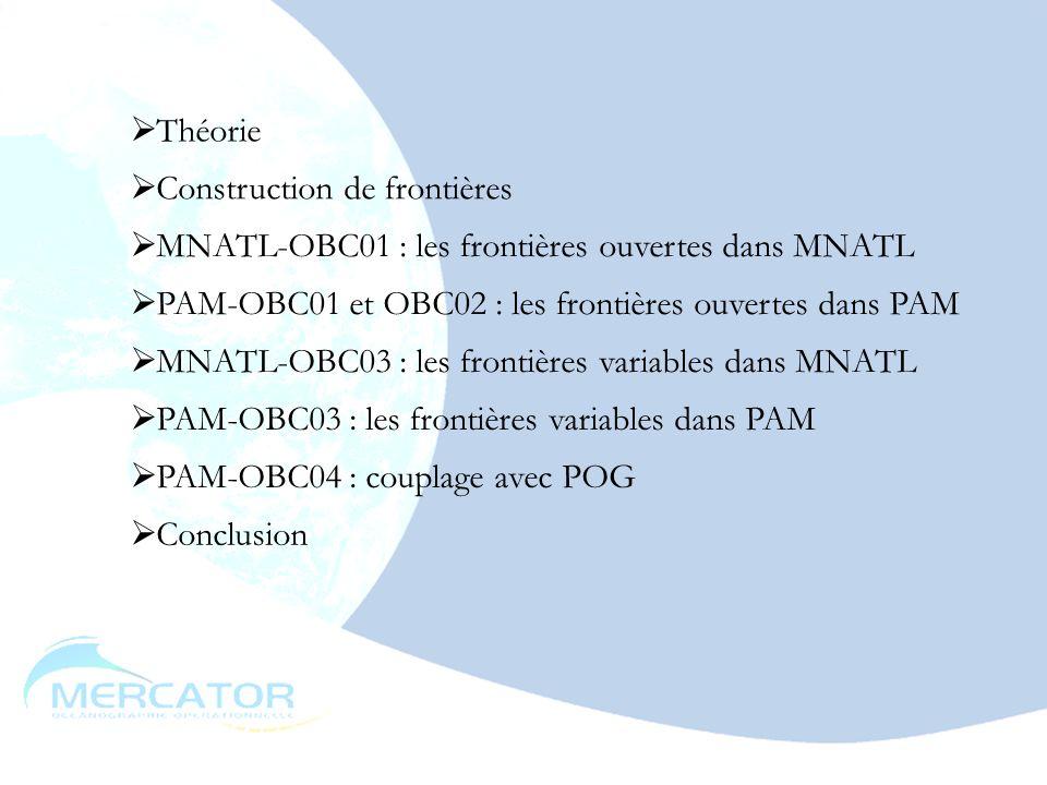 mai 200315 Théorie MNATL-OBC01 : les frontières ouvertes dans MNATL PAM-OBC01 et OBC02 : les frontières ouvertes dans PAM MNATL-OBC03 : les frontières variables dans MNATL PAM-OBC03 : les frontières variables dans PAM PAM-OBC04 : couplage avec POG Construction de frontières Conclusion