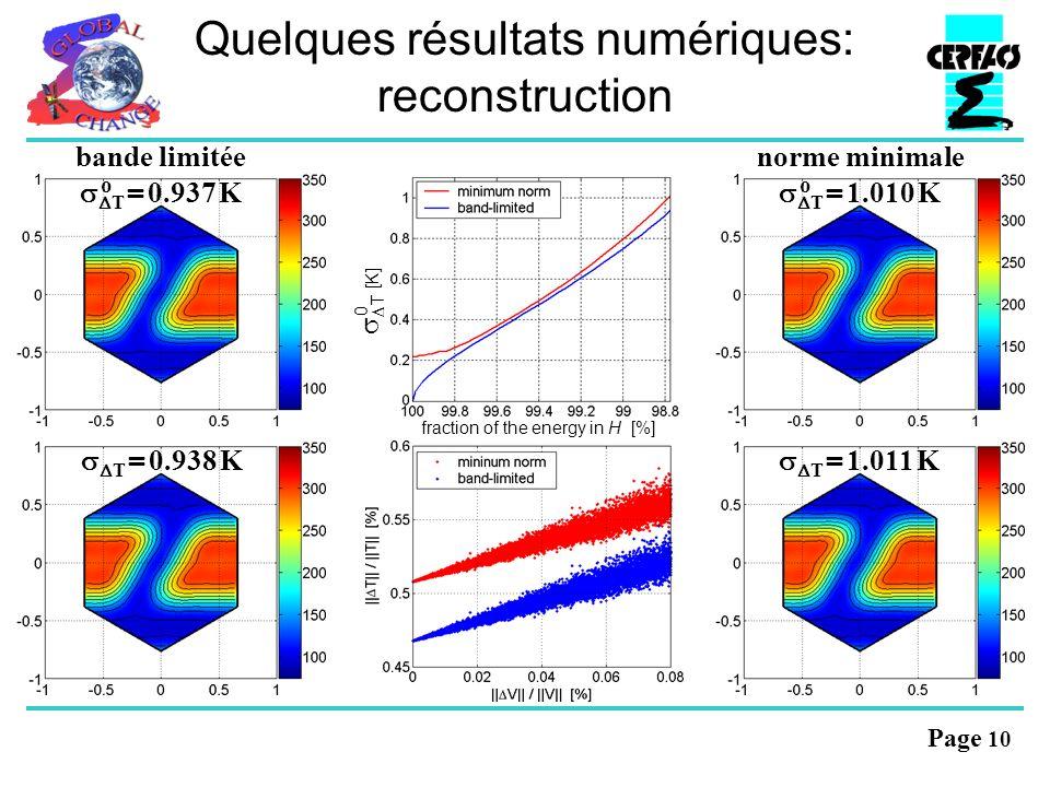 Page 10 Quelques résultats numériques: reconstruction norme minimale T = 1.010 K o bande limitée T = 0.937 K o T = 0.938 K T = 1.011 K 0 T [K] fraction of the energy in H [%]