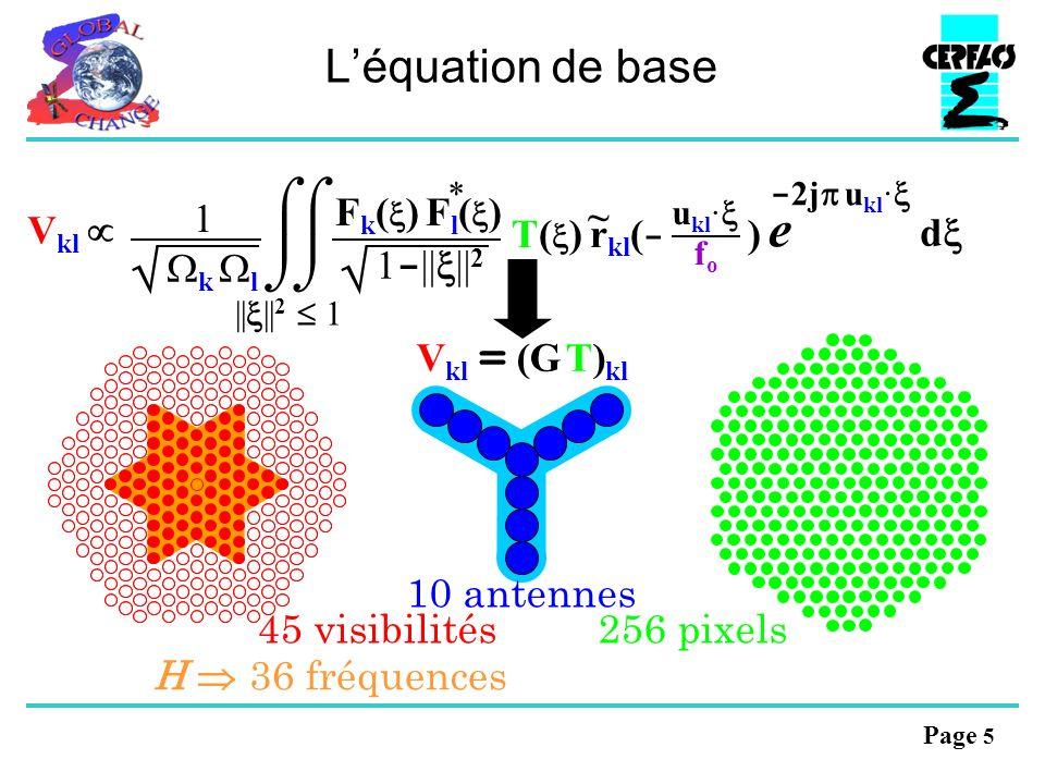 Page 5 Léquation de base - 2j u kl · e d V kl || || 2 1 * F k ( ) F l ( ) 1 - || || 2 T( ) r kl ( - ) u kl · fofo ~ 1 k l V kl = (G T) kl H 36 fréquences 10 antennes 45 visibilités 256 pixels