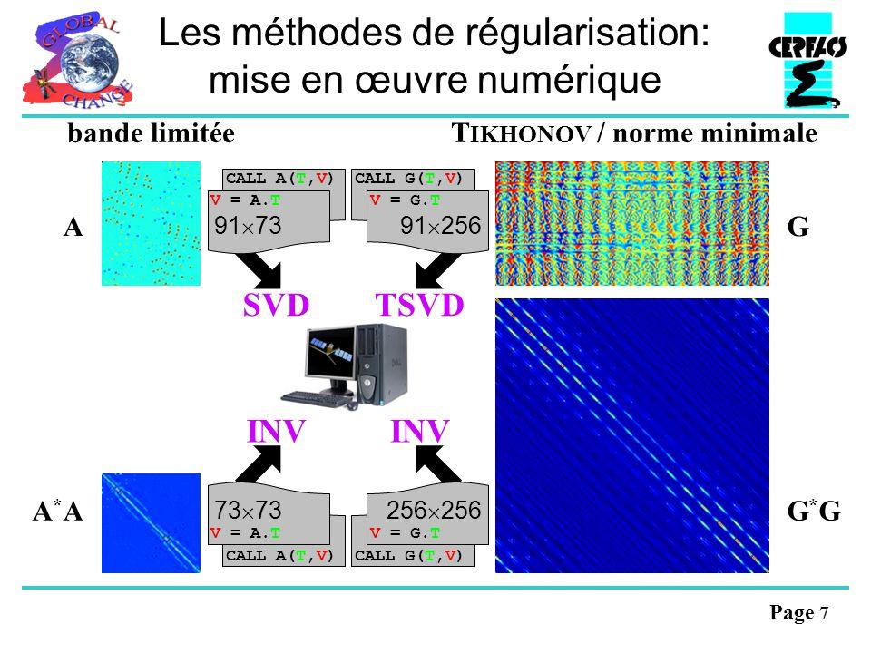 Page 7 Les méthodes de régularisation: mise en œuvre numérique SVDTSVD INV CALL A(T,V) V = A.T CALL G(T,V) V = G.T CALL A(T,V) V = A.T CALL G(T,V) V = G.T 73 256 A*AA*AG*GG*G 91 7391 256 AG bande limitéeT IKHONOV / norme minimale