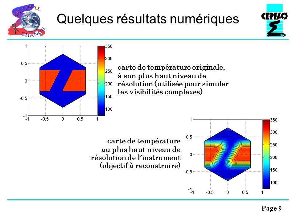 Page 9 Quelques résultats numériques carte de température originale, à son plus haut niveau de résolution (utilisée pour simuler les visibilités complexes) carte de température au plus haut niveau de résolution de linstrument (objectif à reconstruire)