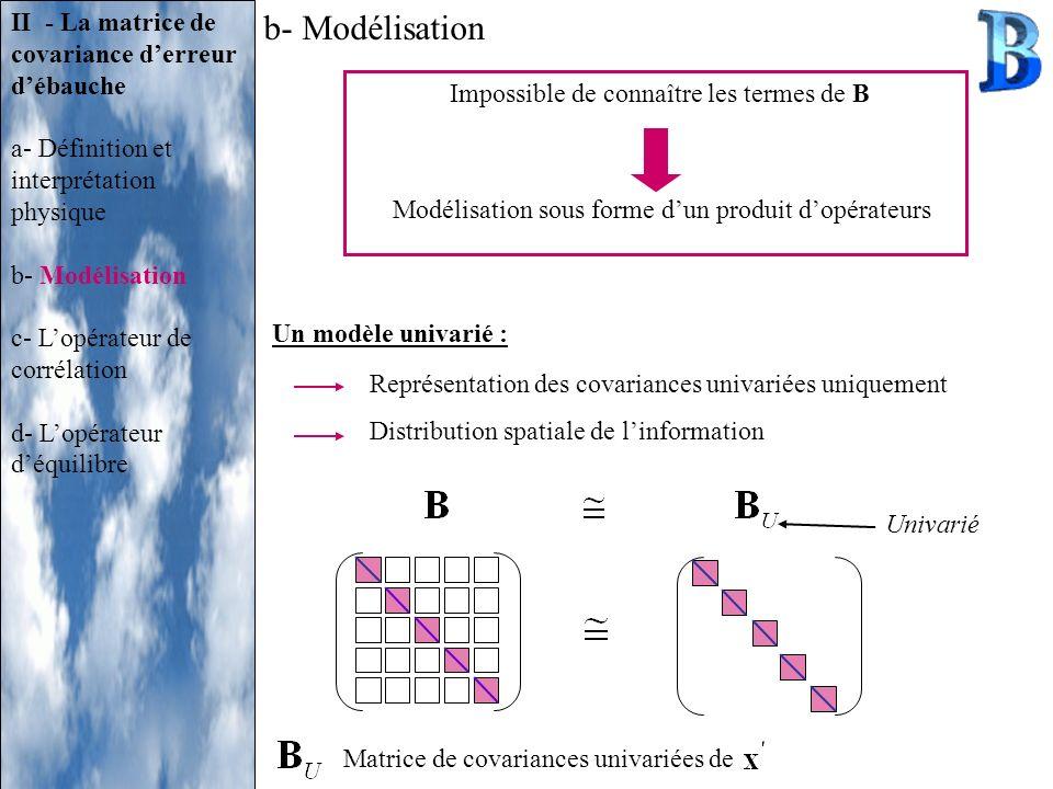 b- Modélisation II - La matrice de covariance derreur débauche a- Définition et interprétation physique b- Modélisation c- Lopérateur de corrélation d