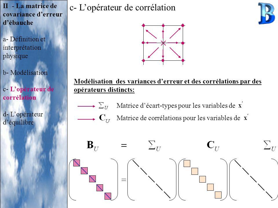 II - La matrice de covariance derreur débauche a- Définition et interprétation physique b- Modélisation c- Lopérateur de corrélation d- Lopérateur déq