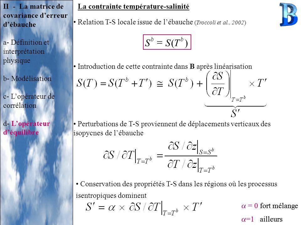 La contrainte température-salinité b ( b S)TS = 0 fort mélange =1 ailleurs II - La matrice de covariance derreur débauche a- Définition et interprétat