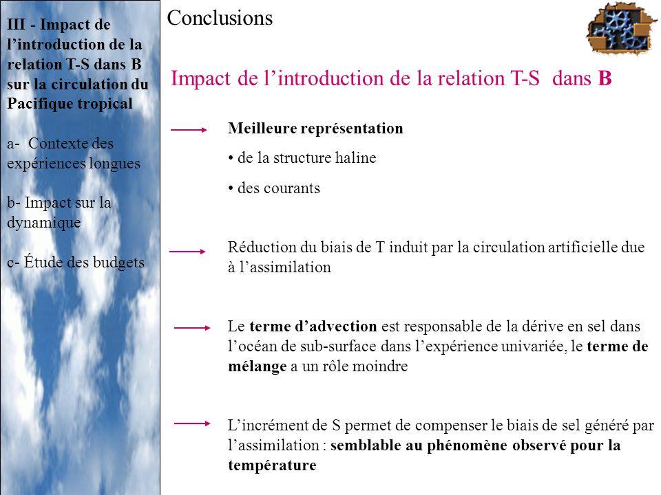 Meilleure représentation de la structure haline des courants Réduction du biais de T induit par la circulation artificielle due à lassimilation Le ter