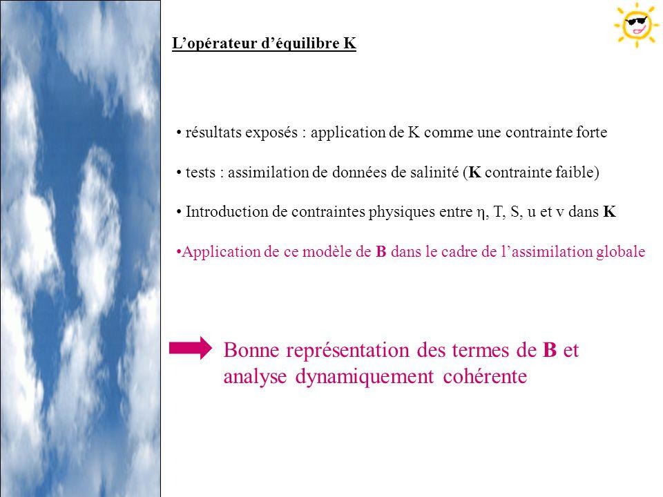 résultats exposés : application de K comme une contrainte forte tests : assimilation de données de salinité (K contrainte faible) Introduction de cont