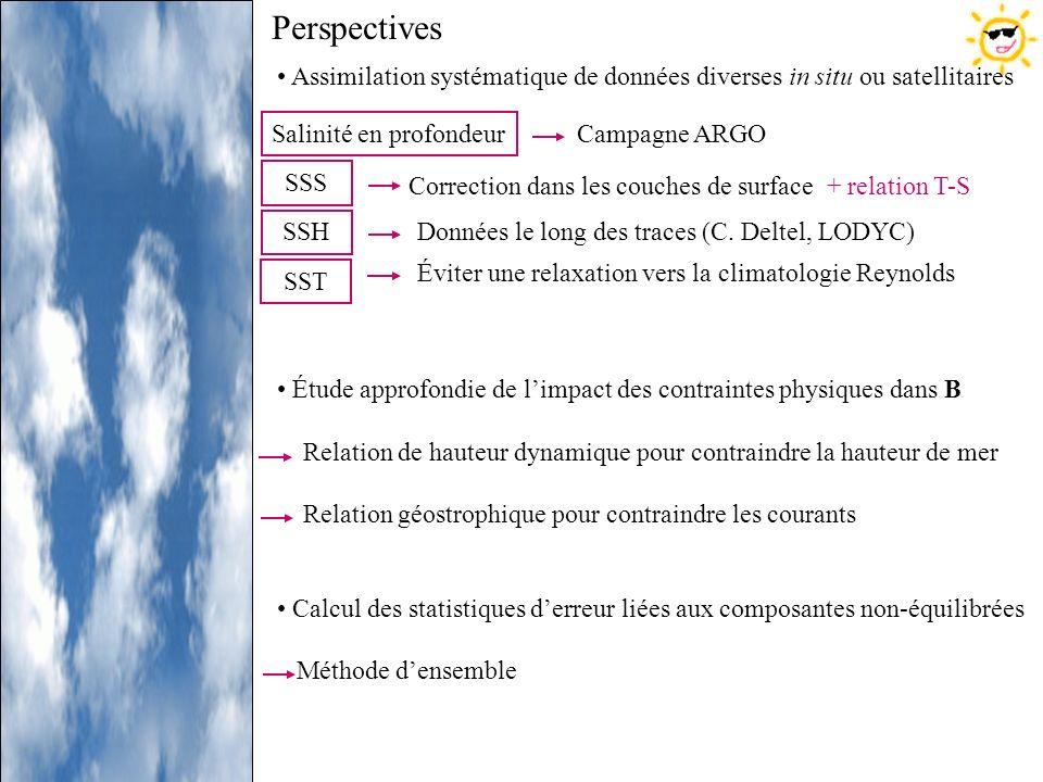 Perspectives Assimilation systématique de données diverses in situ ou satellitaires Étude approfondie de limpact des contraintes physiques dans B Rela