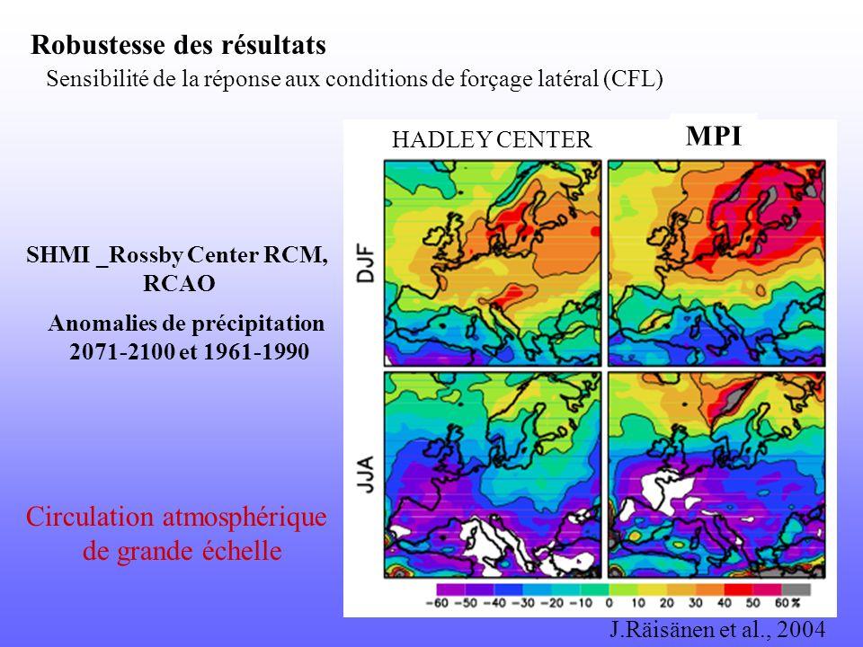 Anomalies de précipitation 2071-2100 et 1961-1990 Sensibilité de la réponse aux conditions de forçage latéral (CFL) Robustesse des résultats SHMI _Ros