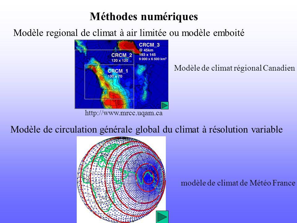 Méthodes numériques Modèle regional de climat à air limitée ou modèle emboité Modèle de circulation générale global du climat à résolution variable ht