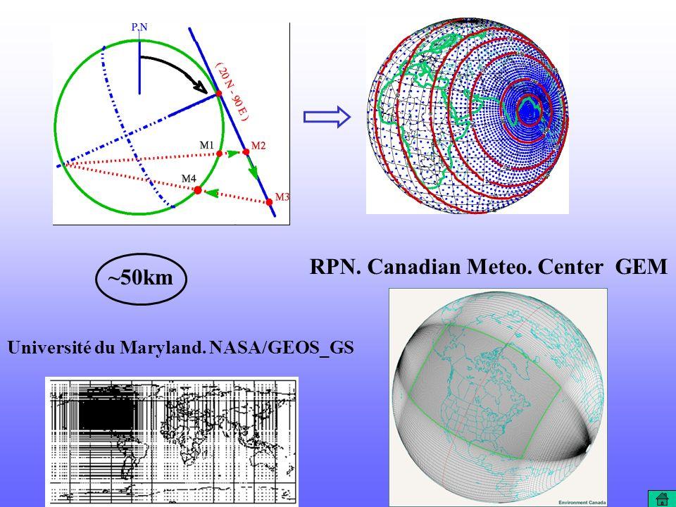 Université du Maryland. NASA/GEOS_GS ~50km RPN. Canadian Meteo. Center GEM