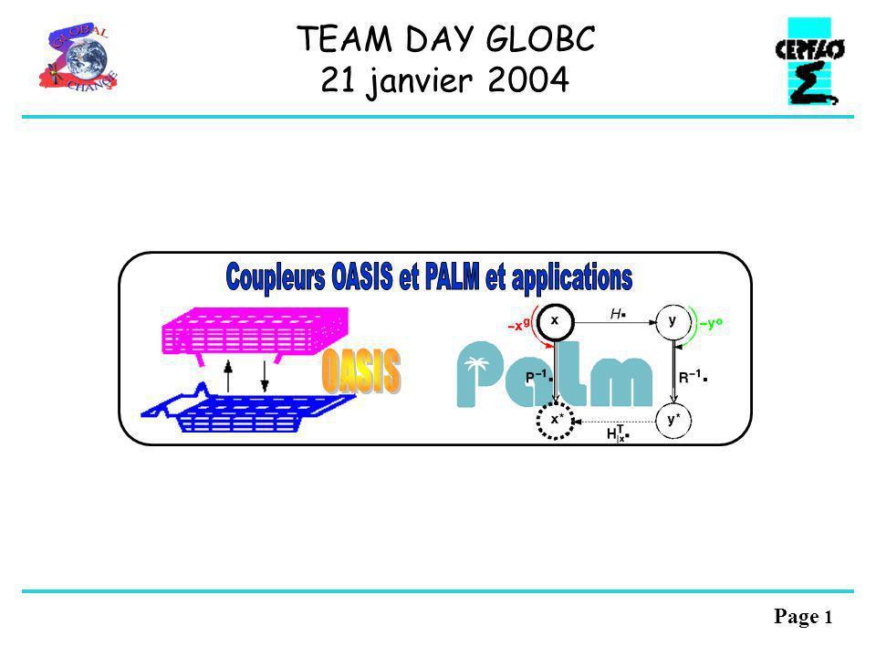Page 11 Fichiers XML: interface de couplage des composantes, configuration dun modèle couplé Le coupleur OASIS4 Les différences OASIS3-OASIS4 Parallélisation: communication et re-répartition OB C C C O1 C C T calcul des « voisins » dinterpolation Transformer: structure propice à sa future parallélisation Interpolation: comme Oasis3 + Support de champs vectoriels Support de champs 3D