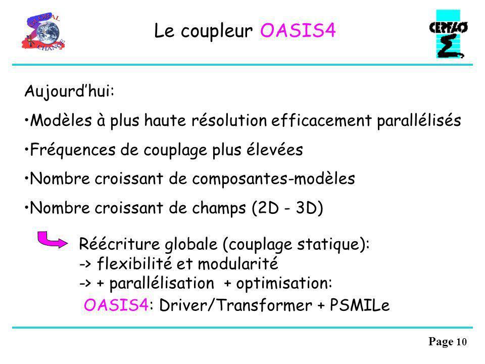 Page 9 Les nouveautés OASIS3 A A A B B B communication directe A A A file I/O: transition automatique forcé - couplé Le coupleur OASIS3 Nouvelle inter
