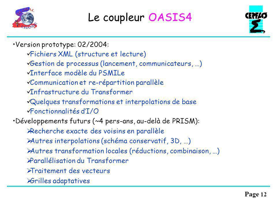 Page 11 Fichiers XML: interface de couplage des composantes, configuration dun modèle couplé Le coupleur OASIS4 Les différences OASIS3-OASIS4 Parallél