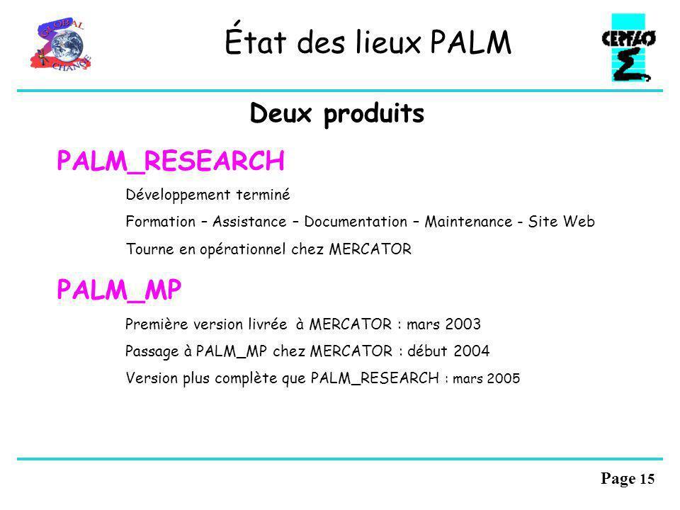 Page 14 Le coupleur PALM OASIS PALM État des lieux Utilisation de PALM Perspectives PALM Perspectives PALM-OASIS Applications PALM