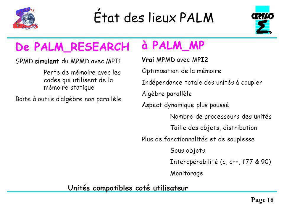 Page 15 État des lieux PALM Deux produits PALM_RESEARCH Développement terminé Formation – Assistance – Documentation – Maintenance - Site Web Tourne e