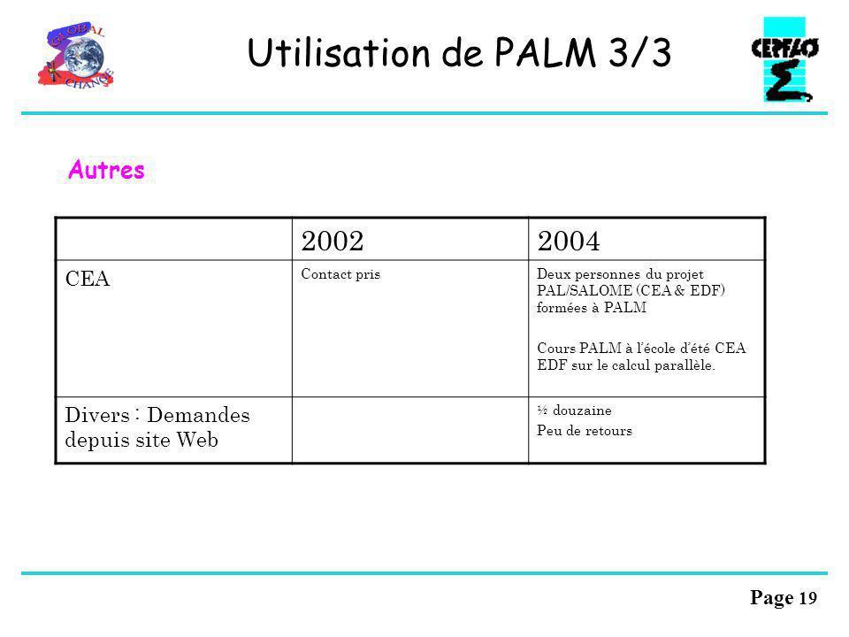 Page 18 Utilisation de PALM 2/3 20022004 METEO FRANCE Rien ne bougeProjet ASSET : MOCAGE avec PALM réalisé. Chimie PNCA (D. Cariolle) Suite ASSET ? ED