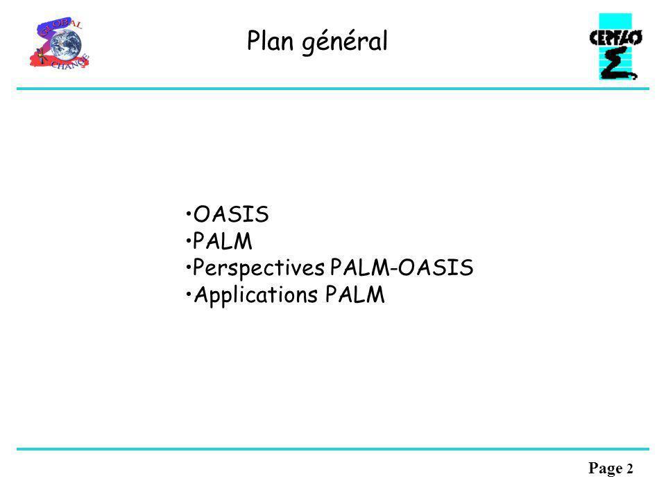 Page 12 Version prototype: 02/2004: Fichiers XML (structure et lecture) Gestion de processus (lancement, communicateurs, …) Interface modèle du PSMILe Communication et re-répartition parallèle Infrastructure du Transformer Quelques transformations et interpolations de base Fonctionnalités dI/O Développements futurs (~4 pers-ans, au-delà de PRISM): Recherche exacte des voisins en parallèle Autres interpolations (schéma conservatif, 3D, …) Autres transformation locales (réductions, combinaison, …) Parallélisation du Transformer Traitement des vecteurs Grilles adaptatives Le coupleur OASIS4