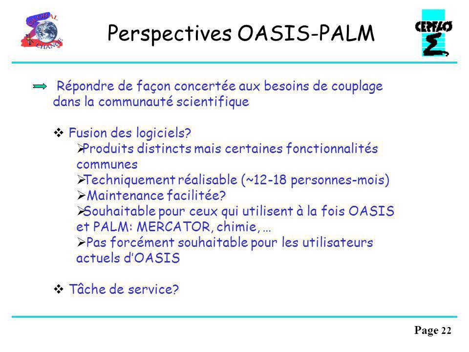 Page 21 Perspectives PALM : Applications ORCA_VAR/PALM Développement de la chaîne sous PALM pour diffusion : Lodyc, ECMWF, MERCATOR Assimilation de do
